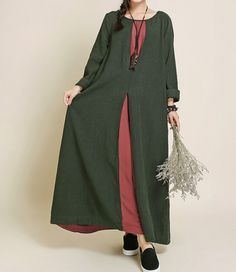 Ma Lieb shop -Spring Oversized loose maxi dress linen long sleeved by MaLieb