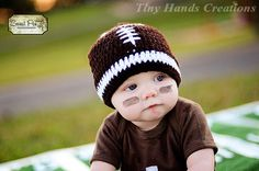 LET'S PLAY Some FOOTBALL Baby Hat /0 - 3 months (Ready to Ship). $8.00, via Etsy.
