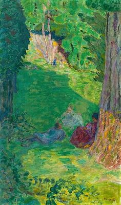 "amare-habeo: "" Pierre Bonnard (French, 1867 - Three figures at the foot of a tree (Trois personnages au pied d'un arbre), "" Pierre Bonnard, Edouard Vuillard, Paul Gauguin, Kunst Online, Garden Painting, Painting Art, French Artists, Landscape Paintings, Modern Art"