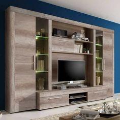 Mueble para TV..living Wall Unit Designs, Living Room Tv Unit Designs, Tv Cabinet Design, Tv Wall Design, Home Room Design, Home Office Design, Condo Living Room, Living Room Decor, Tv Wall Cabinets