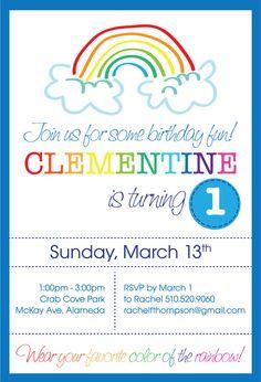 printable rainbow invite