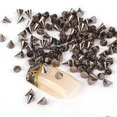 So Beauty Nail Art Decoration 100pcs Black Cone Metalic Spike Studs Nail Art Tiny Stick ** Click on the image for additional details.