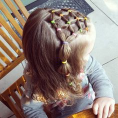 Rubber band hairstyle great for swimming #toddlerhair #toddlerhairstyles…