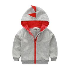 Nibox Baby Boys Long Sleeve Dinosaur Hoodies Toddler Zipup Jacket Clothes 1824 Months Gray >>> Click image for more details.