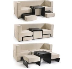 Slot Sofa.The Slot sofa is a very dynamic and flexible piece of furniture. It's also a great acquisition for small spaces where it's usually difficult to fit everything you need inside a tiny room. This sofa allows you to have three pieces of furniture in one. It's not a typical modular unit that is usually just an extendable sofa that also serves as a bed or sectional. This one hides a coffee table and ottoman.