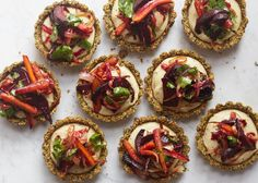 Roasted root vegetable tarts with spiced sesame crust and dairy-free cashew bechamel