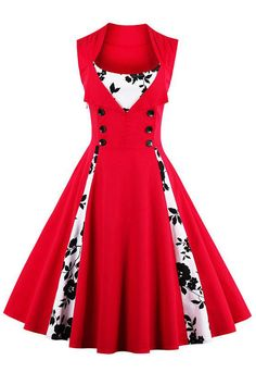 Gorgeous in red with a hint of floral in our Atomic Vintage Rockabilly Floral Print Sleeveless Cocktail Party Dress. Get it here: https://atomicjaneclothing.com/products/atomic-vintage-rockabilly-floral-print-sleeveless-cocktail-party-dress