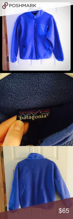 Patagonia blue fleece jacket coat Patagonia blue fleece coat. Sz women's small. Size tag was cut out. If you would like measurements leave me a comment. Good Preowned condition. Jacket shows pilling and some wear from washing and use. 100% polyester. Machine washable. Open to offers. Patagonia Jackets & Coats