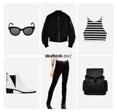 Heiß und angesagt: Modische Sonnenbrille, Bomberjacke, strefiges Crop-Top, Boots, High-Waist Jeans und Rucksack. Hier entdecken und shoppen: http://sturbock.me/B6C
