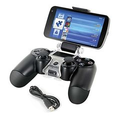 Smart Phone Mount Bracket Storage Holder + Charging cable for Sony PS4 Controller Gamepad – USD $ 15.99