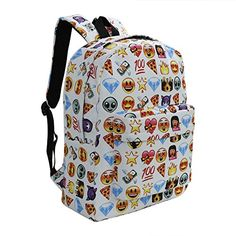 8e0670bfcb06 Special Offers - Zicac Children Students Canvas Emoji Backpack Smiling Face  Satchel (White) For