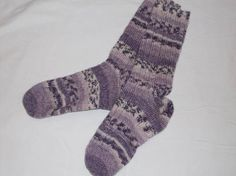 Purple striped handknit socks ladies 89 mens78 by petitpoints