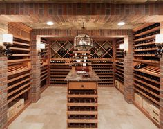 Old world charm meets contemporary woodwork in this spacious wine cellar. Achieve a similar effect with our Ballard color mix thin brick tiles.