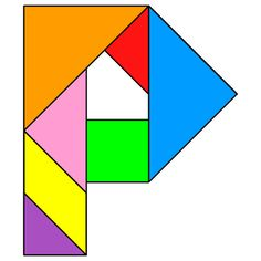 Tangram Letter P - Tangram solution #131 - Providing teachers and pupils with tangram puzzle activities