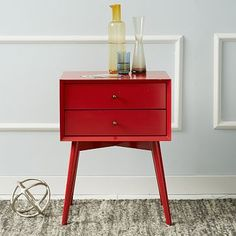 Mid-Century Nightstand - Vermillion #westelm. So cute, I want one in every room! (ok, maybe not every room, but at least one!)