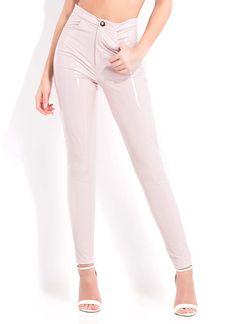 Gloss Lady Faux Patent Skinny Pants PINK Skin Tight Leggings, Skinny Pants, Yellow Black, How To Look Pretty, Patent Leather, Capri Pants, Tights, Lady, How To Wear