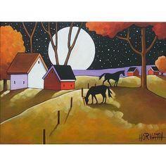 PAINTING ORIGINAL Folk Art Abstract Black Horses by SoloWorkStudio
