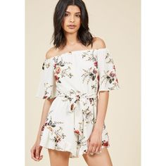Lead With Leisure Floral Romper (480 DKK) ❤ liked on Polyvore featuring jumpsuits, rompers, romper, apparel, bottoms, varies, off shoulder romper, white romper, ruffle slip and playsuit romper