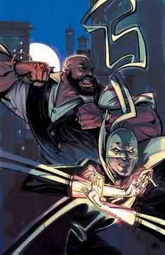 Marvel Knights Cover Art Featuring: Luke Cage, Iron Fist Marvel Comics Poster - 30 x 46 cm Marvel Comics, Marvel Art, Marvel Heroes, Marvel Comic Character, Marvel Comic Books, Comic Books Art, Book Art, Marvel Characters, Iron Fist Series