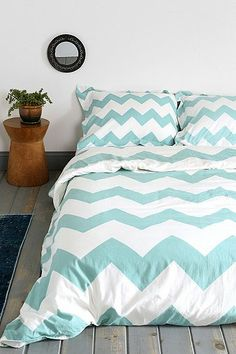 Love this chevron. I think the blue would go well with an orange/red color with gray. Dorm room maybe? Duvet Cover $50 Urban Outfitters