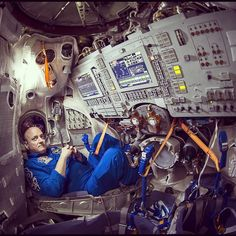 NASA astronaut Scott Kelly is prepping for his March 27 launch to the International Space Station for the one-year mission in space. Here he's seen in a Soyuz simulator at the Gagarin Cosmonaut Training Center (GCTC), Wednesday, March 4, 2105 in Star City, Russia.  #NASA #space #ISS #astronaut @StationCDRKelly