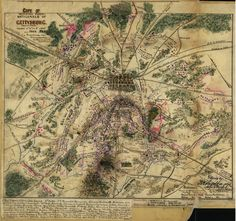 Copy of official plan of Gettysburg. Pennsylvania, fought 1st, 2nd, 3rd July 1863. Map attempts to show the locations of various units during each day of the battle. All major landmarks are indicated.