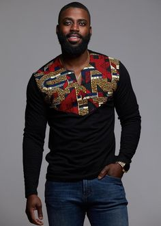 Our Lanre African print Men's long sleeve black shirt in our red navy stripe applique is perfect for cooler weather! Shop our Men's African clothing and find your new favorite African print shirt. African Shirts For Men, African Dresses Men, African Attire For Men, African Wear, African Style, Modern African Clothing, African Clothing For Men, African Print Fashion, Africa Fashion
