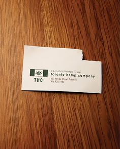 Made through empirical research ;) | A business card of a cannabis lifestyle store at Toronto