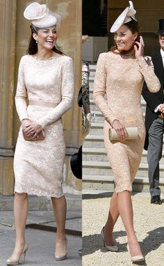 Lacy Alexander McQueen Frock from Kate Middleton's Recycled Looks  You can't blame Kate for recycling this beige Alexander McQueen sheath—it's absolutely gorgeous. The Duchess of Cambridge first wore the number to the Queen's Diamond Jubilee lunch back in 2013, and again at the Duke of Edinburgh's 93rd birthday celebration.