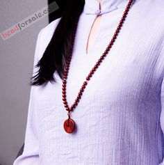 108 Red Sandalwood Mala Beads With No Brown Eyes