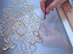 Tambour beading on a haute couture piece