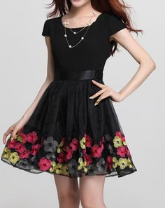 Stylish Scoop Neck Short Sleeve Ruffles Design Embroidered Women's Dress