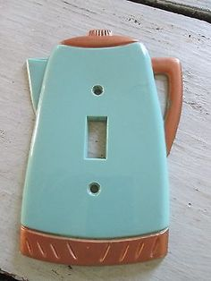 Vintage Plastic Switch Plate Cover- Coffee Pot. Turquoise and copper tone.