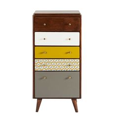 Vintage 5-drawer chest in multicoloured mango wood