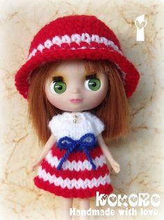 Blythe Petite LPS Navy Knit Set - Little Dal or Little Pullip dress and hat. $8.00, via Etsy.