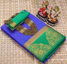 Blue soft silk saree, festival saree with saree piece Kanjivaram Sarees, Lehenga Saree, Bollywood Saree, Georgette Sarees, Soft Silk Sarees, Cotton Saree, Saree Wedding, Wedding Wear, Ethnic Wear Designer