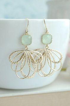 Mint Glass Earrings