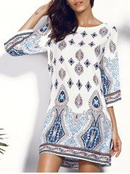 Casual Scoop Neck Floral Print Hollow Out Dress For Women