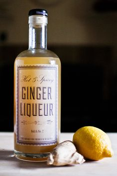 DIY Ginger Liqueur Recipe makes all kinds of drinks better. It goes really well with fruity flavors, especially citrus, and it adds just a bit of spiciness. Oh hey: GINGER! Homemade Alcohol, Homemade Liquor, Homemade Liqueur Recipes, Homemade Recipe, Cocktail Drinks, Alcoholic Drinks, Beverages, Cocktails, Cocktail Recipes