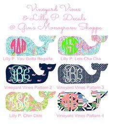 Monogrammed Whale Decal Vineyard Vines meets by GinsMonogramShoppe, $7.99