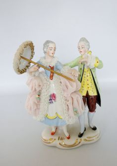 Dresden Lace Double Figurine - Dancing Couple in Period Dress -  Pink Lace Dress Dresden on Etsy, $79.00