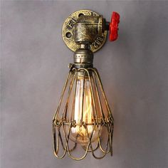 Vintage Industrial Water Pipe Wall Lamp Bronze Lights Home Restaurant Decoration 110-240V E27