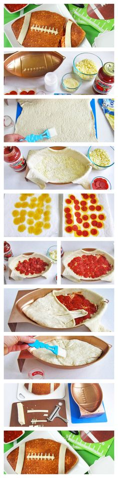 A football-shaped pizza filled with mozzarella and Parmesan cheese, pepperoni and sauce.