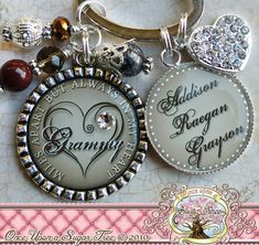 Personalized Grandma Keychain Bottle cap (or Necklace), Miles Apart But Always In My Heart, Grandma Jewelry Children's Names, Aunt on Etsy, $23.50