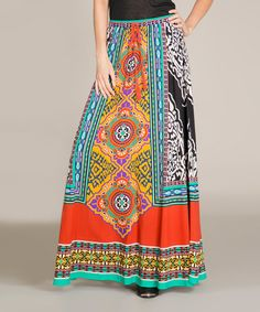 This Rust & Teal Maxi Skirt by Flying Tomato is perfect! #zulilyfinds