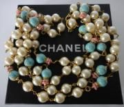Long Vintage Chanel 94a Lge Pearl Turquoise Bead Sautoir Necklace