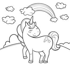 Cute coloring for kids with unicorn Free. Unicorn Coloring Pages, Cute Coloring Pages, Doodle Coloring, Animal Coloring Pages, Coloring Pages For Kids, Coloring Books, Unicorn Illustration, Funny Illustration, Baby Unicorn