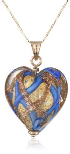 "14k Yellow Gold Blue Murano Glass Heart Necklace, 18"" Amazon Curated Collection,http://www.amazon.com/dp/B004OVDLIE/ref=cm_sw_r_pi_dp_mndEsb002RYFDE4N"