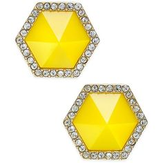 Abs by Allen Schwartz Color Pop Pave Hexagon Stud Earrings featuring polyvore, women's fashion, jewelry, earrings, pave stud earrings, gold tone jewelry, studded jewelry, post earrings and pave earrings