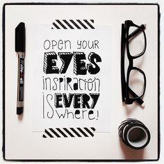 Inspiration is everywhere! #lettering #typography #glasses #blackwhite #handmade #handlettering